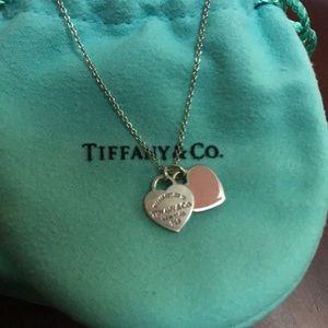 Tiffany & Co. silver mini double heart necklace